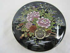 Vintage Imperial Kutani Japanese Round Covered Trinket Box Dish Container Black