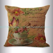 US SELLER, butterfly floral retro cushion cover decorative pillow slipcovers