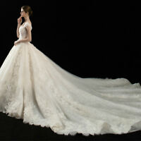 Vintage Scoop Neck Cathedral Train Wedding Dress Lace Beaded Sequins Bridal Gown