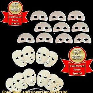 10 Masks White Fancy Dress Full Face Masquerade Party Paint Decorate Mardi Gras