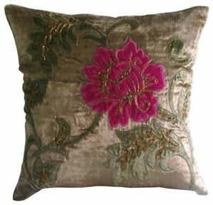Pillow Cover Brown Designer 22x22 inch Velvet, Applique - Applique Blossom