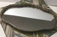 "Vintage Vanity Mirror Gold Tone Filigree Dresser Oval Perfume Tray 17""x11.5"""