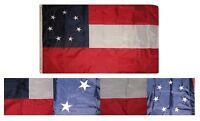 3x5 Embroidered 1st National Stars & Bars 7 210D Sewn Nylon Flag 3'x5' 2 Clips