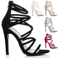 Womens Open Peep Toe High Heel Stiletto Strappy Sandals Shoes Sz 3-8