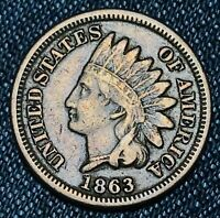 1863 Indian Head Cent Penny CN 1C High Grade FULL LIBERTY War Era US Coin CC4654