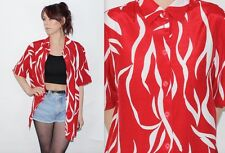 Vintage 90's Red White PATTERNED Short Sleeves OVERSIZED Button Up Blouse Size M