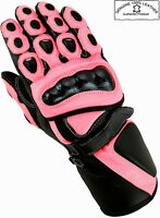 LADIES PINK HAWK WOMENS MOTORBIKE MOTORCYCLE MOTOCROSS LEATHER WINTER GLOVES