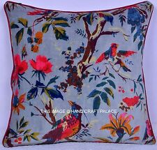 Reversible Velvet Pillow Case Bird Decorative Throw Floor Indian Cushion Cover
