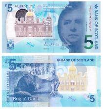 Scozia Scotland 5 pounds 2016  Walter Scott   Pick nuovo  polimeri rif 2682