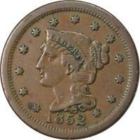 1852 1c Braided Hair Large Cent Penny Coin VF Very Fine