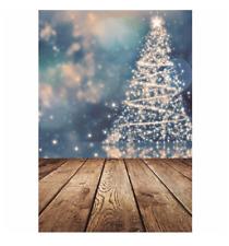 Photography backdrops Christmas tree wood floor bokeh lights Vinyl Background