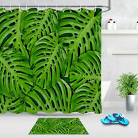 """Exotic Tropical Leaves Green Monstera Pattern Fabric Shower Curtain Set 72/79"""""""