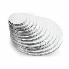 "Silver Round Cake Drum Board 12mm Thick 4"" - 24"" - Pack of 1, 5 & 10 - Free P&P"