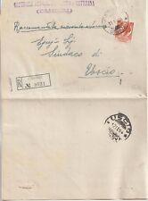 ITALIA 1954 80L SIRACUSANA FIL.RUOTA LETTERE ISOLATO SU RACCOMANDATA DA CAMOGLI