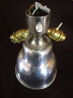 ancien lustre-plafonnier-lampe-aluminium brossé-vintage-3 lumières-LUDI breveté