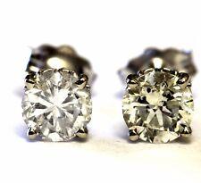 GIA certified 14k white gold .98ct SI2 K-L round diamond earrings .9g estate