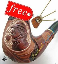 SHERLOCK HOLMES HAND CARVED Tobacco Smoking Pipe/Pipes + CLEANING TOOLS in GIFT!