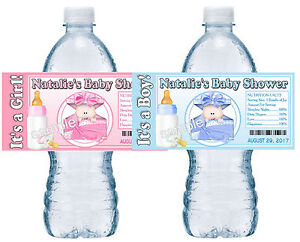20 BABY SHOWER FAVORS WATER BOTTLE LABELS PARTY FAVORS GLOSSY GIFT BOX DESIGN