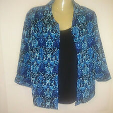 Notations Women's Blouse Black Blue Open Front Twin set 3/4 Sleeve Career Size M