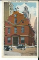 CG-097 MA, Boston, the Old State House, White Border Postcard Old Cars
