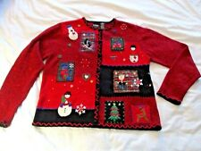 Christmas Sweater sz M Red Patchwork Plaid Santa Trees Snowman Applique Beaded