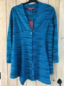 Chesca Womens NEW  Vetono Petrol Cotton mix  Printed Mesh  Jacket Size 14