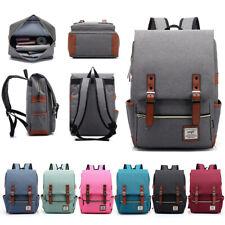 Universal Men Women Leather Canvas Backpack School Travel Shoulder Bag Rucksack