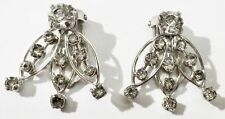 boucles d'oreille clips bijou vintage couleur or blanc cristal diamant * 3609