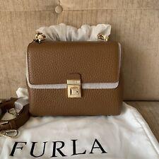 FURLA JOANN Cognac Brown SMALL Crossbody Bag Cow Leather Top Handle RRP629