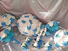 Wedding flower package white & turquoise teardrop bridesmaids buttonholes