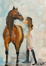 PRINT from Original Oil painting art girl & horse wall art  equestrian style