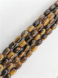 """1 Strand 14x10mm Natural Tiger Eye Gem Barrel Spacer Loose Beads 15.5"""" HH8860"""