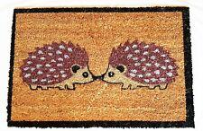 """HEDGEHOG KISSING""  -  Natural Coir Rubber Back Non Slip Doormat"