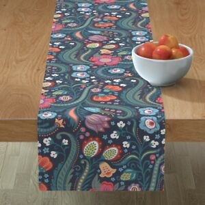 Table Runner Floral Pattern Paisley Pink And Blue Flowers Cotton Sateen