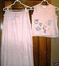 Michael Simon Women's Top & Skirt Outfit Size M Nice Designs Silk Blend Pink
