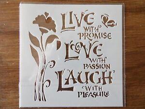 LIVE LOVE LAUGH STENCIL 130mm x 130mm