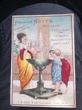 Antique TRADE CARD Victorian Hoyts German Cologne, Baby @ Fountain, c1890s Ad