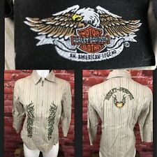 Women's Harley Davidson Zip Front 3/4 Sleeve Shirt Medium Embroidered (E7)