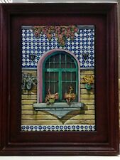 Rare Spanish Old Signed Wooden Framed 3D Hand-Painted Diorama Art/Flowers Window
