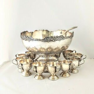 13 piece Punch Bowl set  Nickle Silver EP Japan Rose Embossed As Is