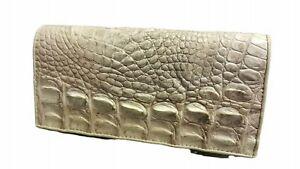 White Genuine Crocodile Bone Wallets Alligator Skin Leather Long Bifold Men's