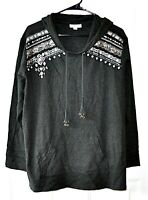 Style and Co Size 1X Dark Gray Embellished Cotton Pullover Hooded Sweatshirt