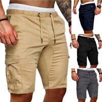 Mens Casual Loose Elastic Waist Drawstring Pocket Shorts Overalls-Beach Pants