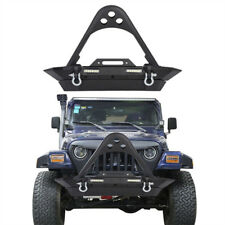 New-Style Fit 87-06 Jeep Wrangler TJ YJ Front Bumper w/ LED Lights&Winch Plate