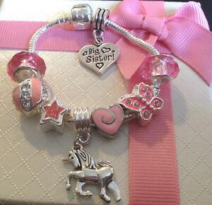 childrens kids girls Luxury pink unicorn heart charm bracelet in gift box