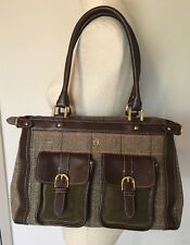 ETIENNE AIGNER Genuine Leather, Suede & Tweed Tote Satchel Shoulder Bag EUC
