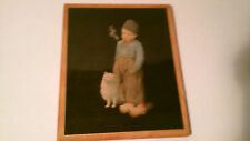 Vintage Small Wood Picture of a Young Pipe Smoking Dutch Boy and White Spitz Dog