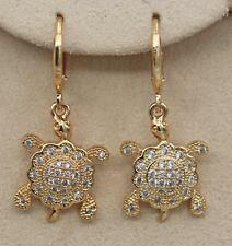 18K Gold Filled - Lovely Turtle Circle White Topaz Zircon Flower Dangle Earrings