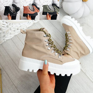 WOMENS LADIES ANKLE BOOTS TRAINERS CHUNKY PLATFORM LACE UP WOMEN SHOES