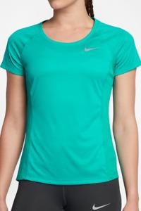 35 NIKE Women's Dry Miler Crew Neck Running Top Tee Turbo Green Size M